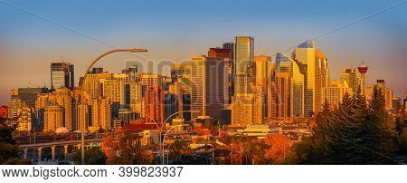 CALGARY, ALBERTA, CANADA - September 29 , 2017 - View of the Calgary, Alberta skyline under evening sun light