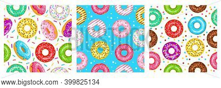 Donuts Seamless Pattern Set For Fabric, Wrapping Paper, Wallpaper, Background For The Site. A Patter