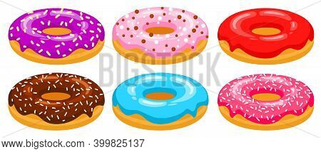 Donuts Side View Vector Set. Red, Chocolate, Pink, Blue, Purple Donuts Are Decorated With Sweet Spri