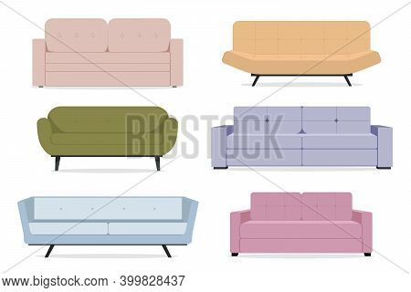 A Set Of Sofas. Collection Of Sofas In A Flat Style. Stock Vector Illustration For Interior Design.
