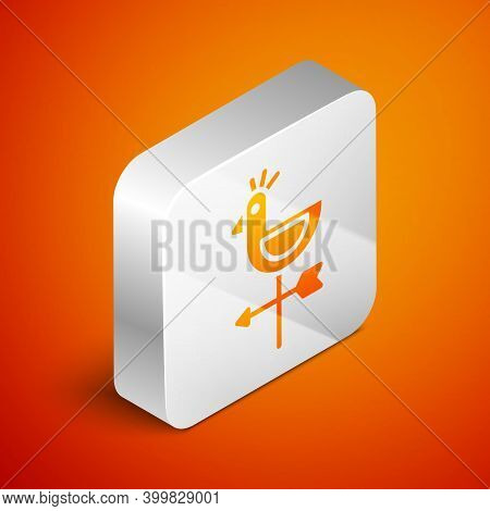 Isometric Rooster Weather Vane Icon Isolated On Orange Background. Weathercock Sign. Windvane Rooste
