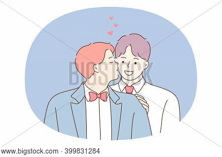 Gay Couple, Homosexuality, Equality Of People Concept. Two Young Smiling Boys Gays Couple Cartoon Ch