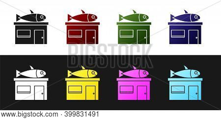 Set Seafood Store Icon Isolated On Black And White Background. Facade Of Seafood Market. Vector.
