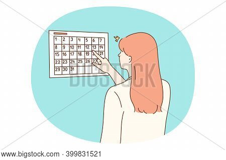 Calendar, Time Management, Personal Planning Concept. Young Woman Odic Worker Secretary Standing Nea