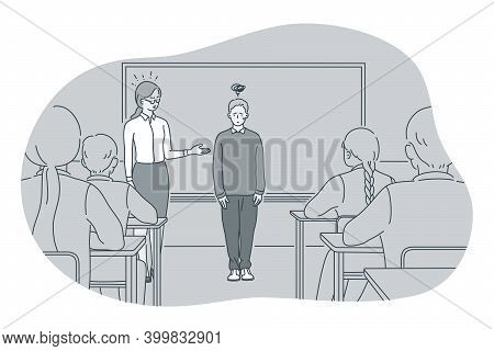 Studying In School, Introducing, Pupil And Teacher Concept. Teacher Introducing New Stressed Frustra
