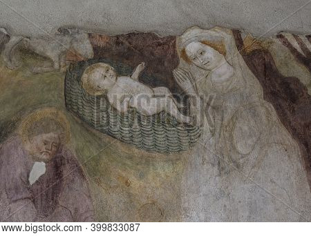Brixen, Italy - October 5, 2020: Cloister With Painting, Fresco, Of Jesus In  The Cathedral Of Brixe