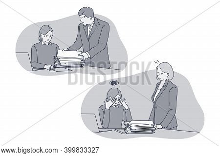 Overwork, Burnout, Stress Concept. Unhappy Depressed Stressed Young Woman Office Worker Getting Heap