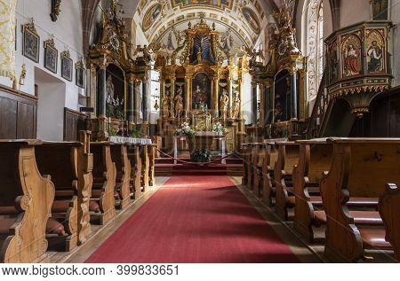 St Magdalena, Italy - October 6, 2020: Interior Of Baroque Church Santa Magdalena In The Dolomites I