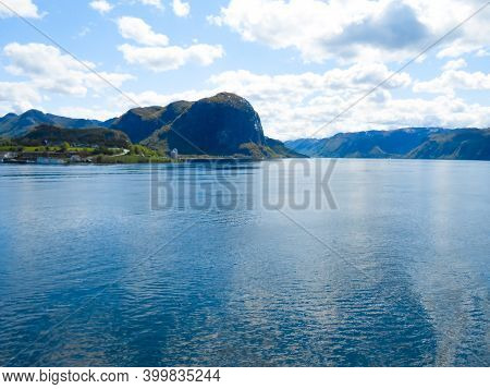 Norwegian Fjord And Mountains In Summer. Lysefjord, Rogaland, Norway