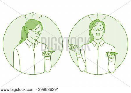 Smartphone, Chat, Online Communication Concept. Young Girl Standing With Smartphone In Hands, Chatti