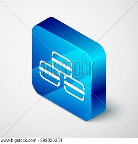 Isometric Macaron Cookie Icon Isolated On Grey Background. Macaroon Sweet Bakery. Blue Square Button