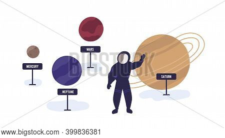 Exhibition In Planetarium Or Space Museum. Astronaut In Spacesuit Waving Hand Near The Exhibits Of S