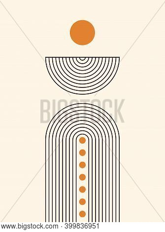 Abstract Background. Line Art. Contemporary  Geometric Composition. Boho Wall Decor. Mid Century Art