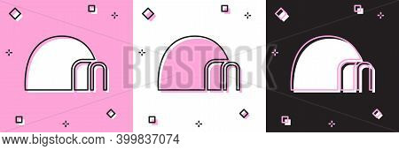 Set Igloo Ice House Icon Isolated On Pink And White, Black Background. Snow Home, Eskimo Dome-shaped
