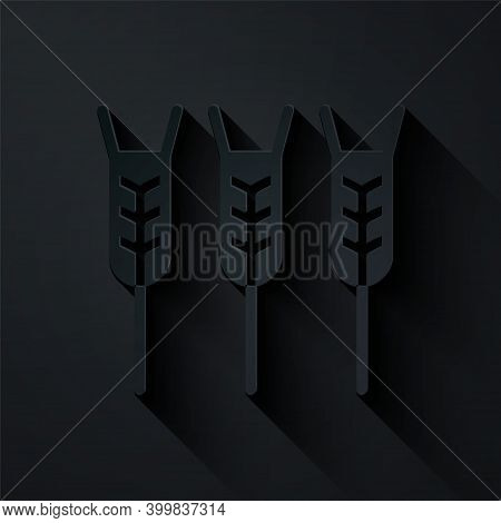 Paper Cut Cereals Set With Rice, Wheat, Corn, Oats, Rye, Barley Icon Isolated On Black Background. E