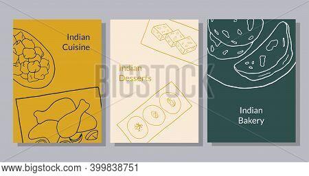 Hand Drawn Poster Set With Pakora, Chicken Tandoori, Sesame Barfi, Sandesh, Naan. Design Sketch Elem