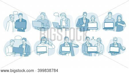 Online Communication, Laptop, Business Team Concept. Young Smiling Business People Office Workers St