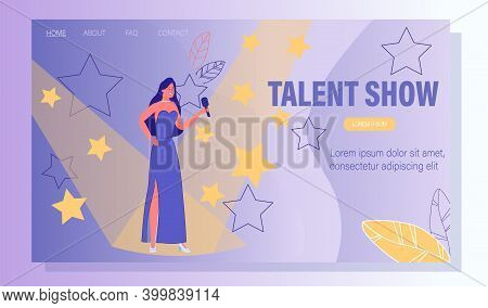 Talent Show For Vocal Singer. Television Program For Popular Artist. Young Woman In Elegant Dress Wi