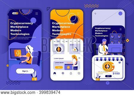 Cryptocurrency Marketplace Unique Design Kit For Social Networks Stories. Blockchain Technology Mobi