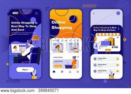 Online Shopping Unique Design Kit For Social Networks Stories. Internet Marketplace, Online Order An