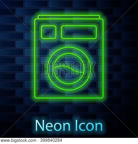 Glowing Neon Line Washer Icon Isolated On Brick Wall Background. Washing Machine Icon. Clothes Washe