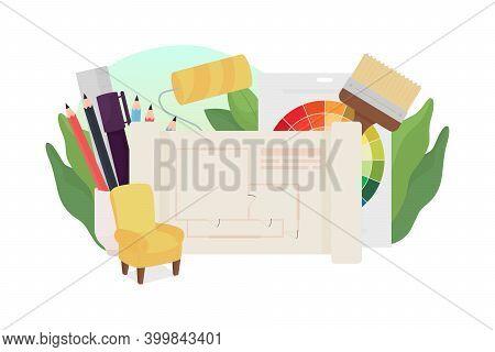 Interior Design Flat Concept Vector Illustration. Architecture Plan, Floor Professional Sketch. Room