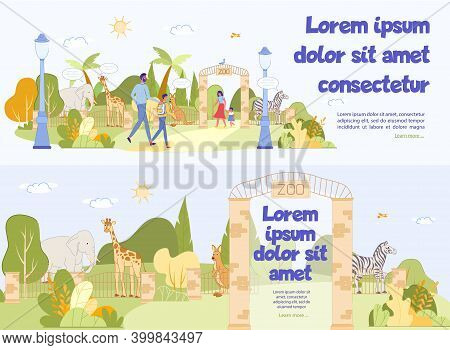 Excursion To Zoo Advertising Header Banner Set. Wild Animal And Tropical Bird Behind Fence With Text