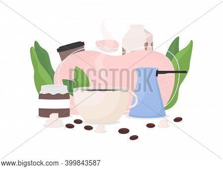 Coffee Shop Flat Concept Vector Illustration. Brew Espresso. Cappuccino Mug. Professional Utensils.