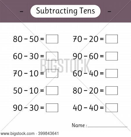 Subtracting Tens. School Education. Math Worksheets For Kids. Development Of Logical Thinking. Mathe