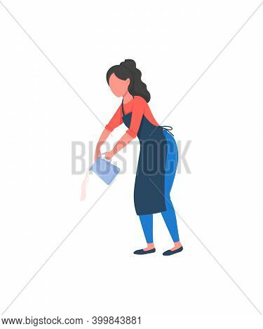 Barista Flat Color Vector Faceless Character. Girl Pour Milk From Pot For Cappuccino. Professional E