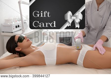 Beauty Salon Gift Card. Young Woman Undergoing Laser Hair Removal Procedure