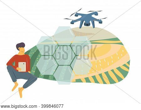 Smart Farming, Modern And High Tech Farmer And Agriculture Concept, Iot Green. Man Uses Tablet And C