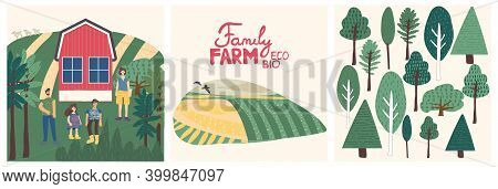 Set Of Family Farm Illustration And Lettering. Rural Landscape, Farmhouse, Trees, Family On The Farm
