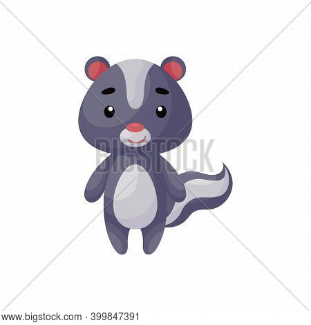 Cute Little Skunk On White Background. Cartoon Animal Character For Kids Cards, Baby Shower, Posters