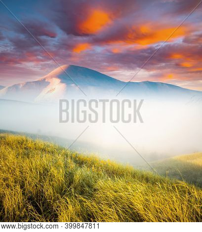 Snowy peak of Hoverla over a misty valley in springtime. Location place of Carpathian mountains, Ukraine, Europe. Morning freshness of a spring day. Photo wallpaper. Discover the beauty of earth.