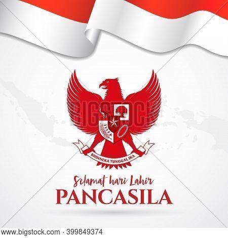 Vector Illustration. Selamat Hari Lahir Pancasila. Translation: Happy Pancasila Day.