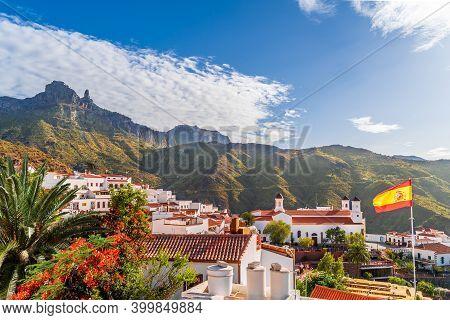 Landscape With Tejeda Village On Gran Canaria, Canary Islands, Spain