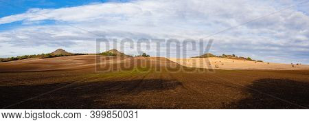 Straw Bales On A Stubble In Central Bohemian Uplands, Czech Republic. Field Landscape Bales Of Straw