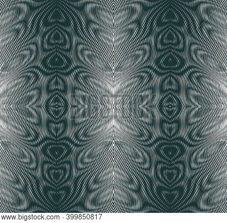 Vector Ornamental Vertical Striped Abstract Texture Of Lines In Trendy Grey Halftones With Moire Eff