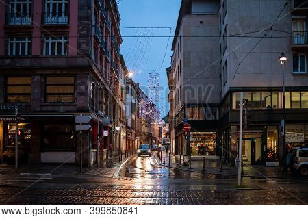 Strasbourg, France - Dec 4, 2020: Almost No Pedestrians And One Single Car During Black Friday Durin