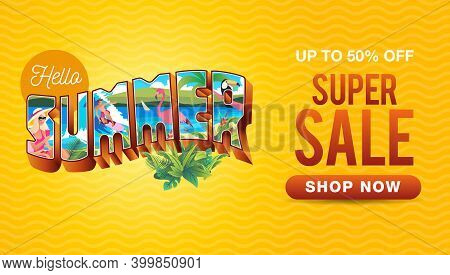 Summer Sale Banner With Vintage Summer Holiday Postcard Style And Waves Background
