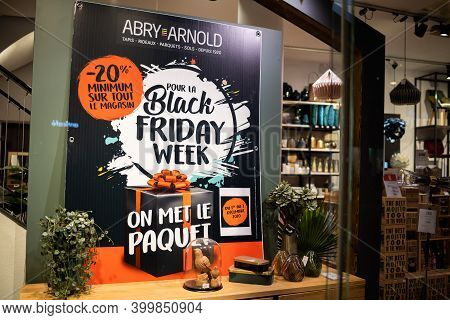 Strasbourg, France - Dec 4, 2020: Black Friday Week Advertising To Abry Arnold Store On The Showcase