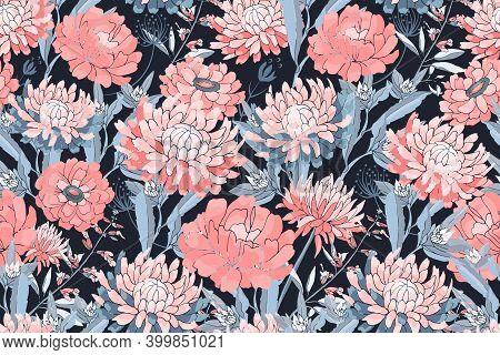 Vector Floral Seamless Pattern. Pink Asters, Chrysanthemums, Zinnias