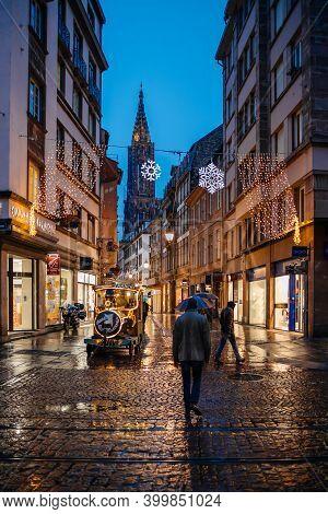 Strasbourg, France - Dec 4, 2020: View For Notre-dame De Strasbourg Cathedral In Central Strasbourg,