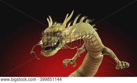 3d Rendering Dragon With Fierce Face And Strong Pose. Isolated Object With Clipping Path.