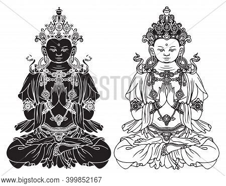 Hand-drawn Buddha Shakyamuni, Sage And Founder Of Buddhism. Two Black And White Vector Illustrations