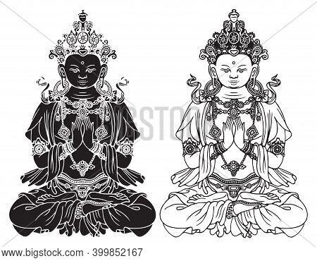 Hand-drawn Buddha Shakyamuni, Sage And Founder Of Buddhism. Two Black And White Vector Illustrations