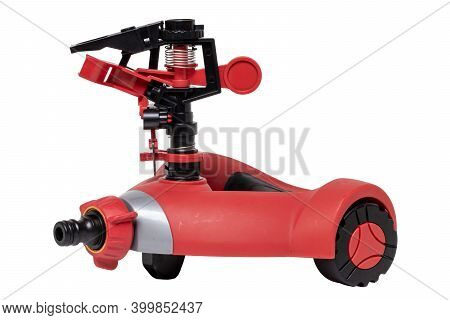 Closeup Of A Automatic Sprinkler For Irrigation Of Lawn Or Grass Isolated On A White Background. Irr