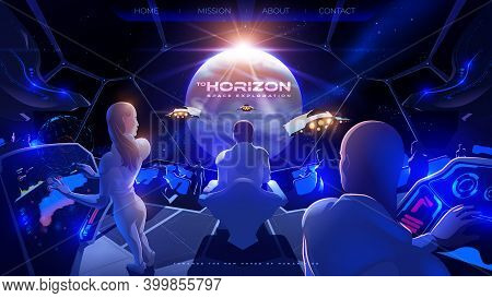Futuristic Vector Illustration For A Landing Page Of The Commander Room Inside The Colony Spaceship
