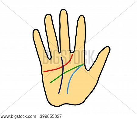 Hand And Lines On The Palm On A White Background. Cartoon. Vector Illustration.